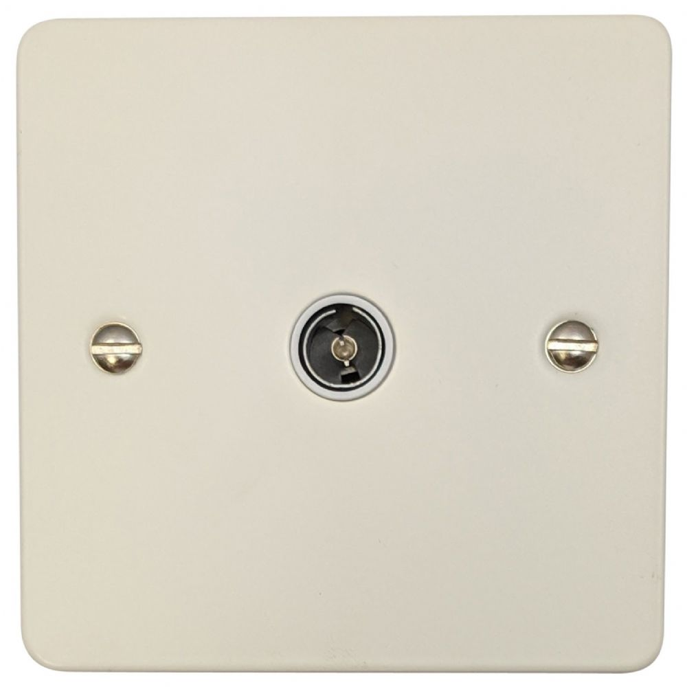 G&H FW35W Flat Plate Matt White 1 Gang TV Coax Socket Point